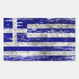 Scuffed och ha på sig grekisk flagga rektangulärt klistermärke