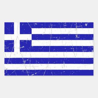 Scuffed och skrapad grekisk flagga rektangulärt klistermärke