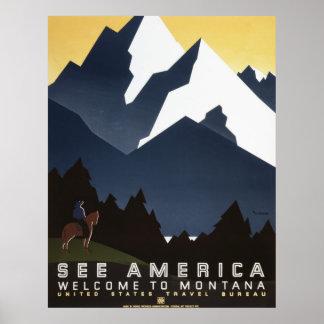 Se den Amerika välkomnandet till Montana Poster