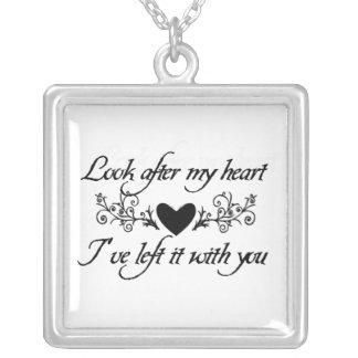 Se efter mitt hjärtasterling silverhalsband silverpläterat halsband