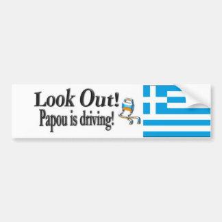 Se Papou kör ut! Grekisk bildekal