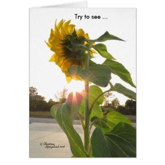 Se solskenblommor till och med sorgsenhetkort hälsningskort