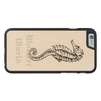 """Seahorse """"för undra värld"""" - carved lönn iPhone 6 slim skal"""