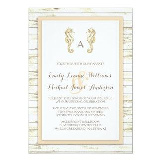 Seahorse kalka Wood strandbröllopinbjudan 12,7 X 17,8 Cm Inbjudningskort