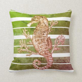 Seahorse och korall för grönt randig kudde