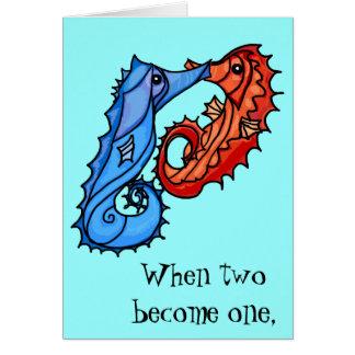 Seahorsen kysser bröllopinbjudan hälsningskort