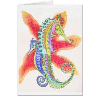 Seahorses och sjöstjärna hälsningskort