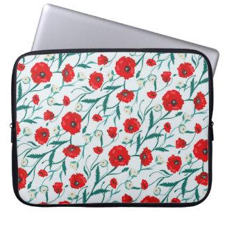 Seamless blommavallmo- och romönster. Summe Laptop Sleeve