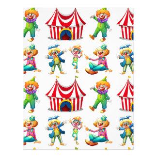 Seamless clowner och cirkustält brevhuvud