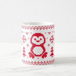 Seamless kopp för jul för pingvinvintermönster vit mugg