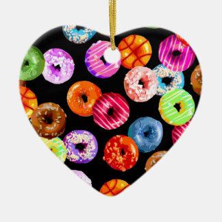 Seamless mönster för Donuts + din backgr. & idéer Julgransprydnad Keramik