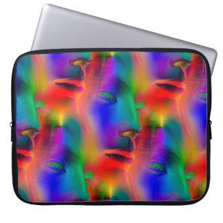 Seamless mönster för Psychedelic ansikte + dina Laptop Fodral