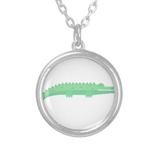 Seamless mönster för roliga krokodiler silverpläterat halsband