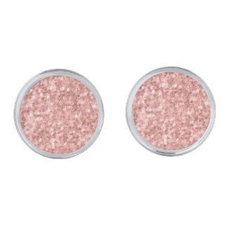 Seamless mönster för rosa guld- glitter silverpläterade manschetterknappar