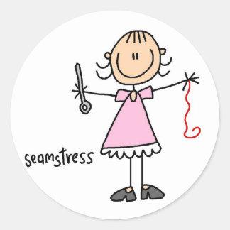 Seamstressstick figurklistermärke runt klistermärke