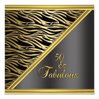 Sebra för födelsedagsfest för elegant 50th svart fyrkantigt 13,3 cm inbjudningskort