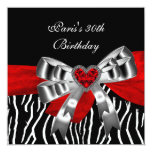 Sebra för vit för 30års födelsedagpartysilver röd skräddarsydda inbjudan