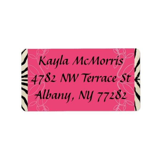 Sebra- och rosaklistermärke adressetikett