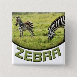 Sebra- och sebraföldjurlivsafarien knäppas emblem standard kanpp fyrkantig 5.1 cm