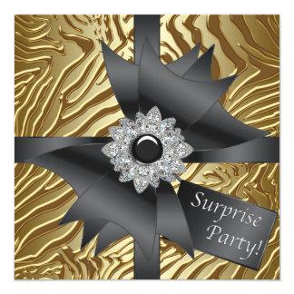 Sebraöverrrakningfödelsedagsfest Fyrkantigt 13,3 Cm Inbjudningskort