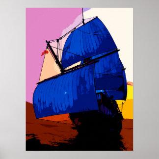 Segelbåt för stil för popkonst komisk/fraktaffisch poster