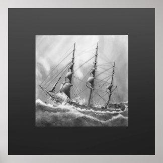 Segelbåt i svartvitt på sjögångar print