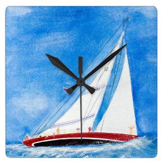 segelbåt på sjögångar i vattenfärgkonst fyrkantig klocka