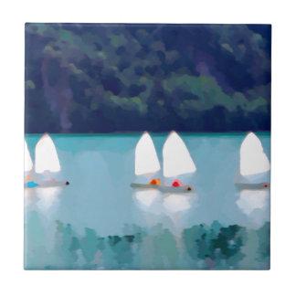 segelbåt på sjön kakelplatta