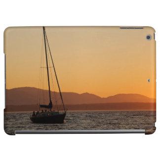 Segelbåt på solnedgången på det Puget ljud