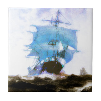 Segelbåtar drömmar, dimmig morgon kakelplatta