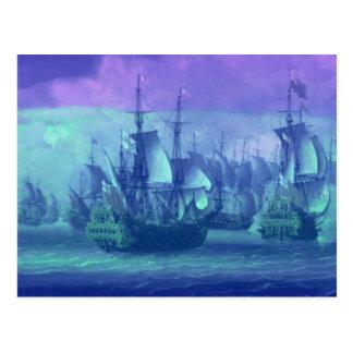 Segelbåtar drömmar, dimmig morgon vykort