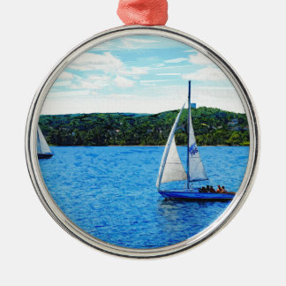 Segelbåtar i sommaren julgransprydnad metall