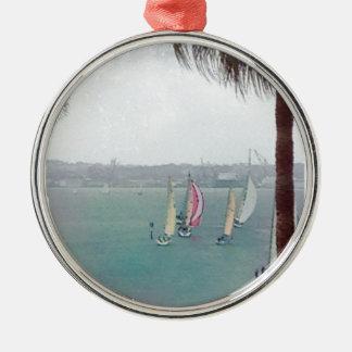 segelbåtar julgransprydnad metall