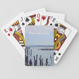 Segelbåtar på kusten av gammal port, Portland Casinokort