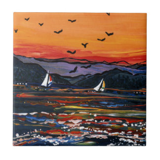 Segelbåtar på solnedgången kakelplatta