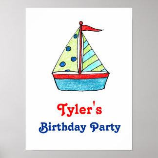 Segelbåtfödelsedagaffisch Poster