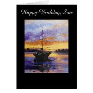 Segelbåtfödelsedagkort för Son Hälsningskort