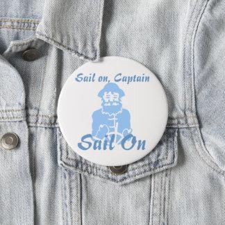 Segla på blått på vit stor knapp rund 10.2 cm