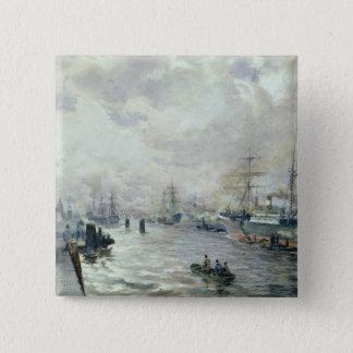 Seglingfrakter i porten av Hamburg, 1889 Standard Kanpp Fyrkantig 5.1 Cm