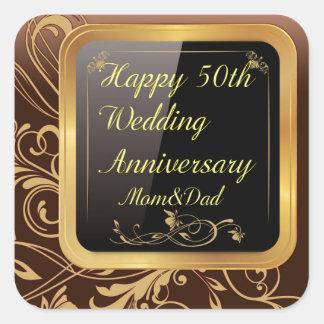 Sele för produkter för bröllopsdag för lycklig fyrkantigt klistermärke