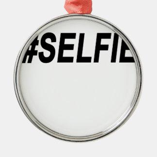 #Selfie T-Shirts.png Rund Silverfärgad Julgransprydnad