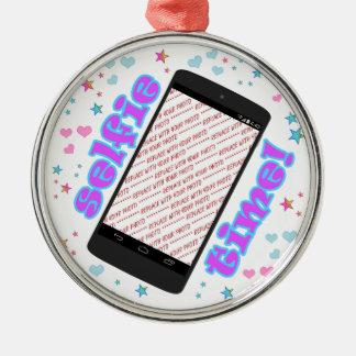 Selfie Time! Smart mobil Shapefotoram Rund Silverfärgad Julgransprydnad