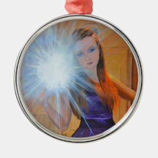 Selfien Rund Silverfärgad Julgransprydnad