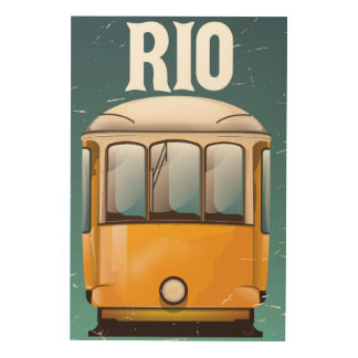 Semestern för den Rio Brasilien vintagespårvagnen Trätavla