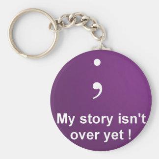 """Semikolon - """"är min berättelse inte över ännu"""" rund nyckelring"""