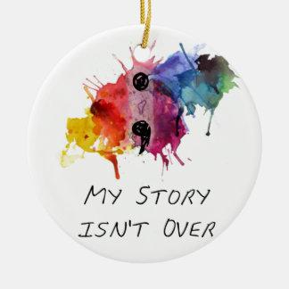 Semikolonet min berättelse är inte över julgransprydnad keramik