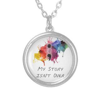 Semikolonet min berättelse är inte över silverpläterat halsband