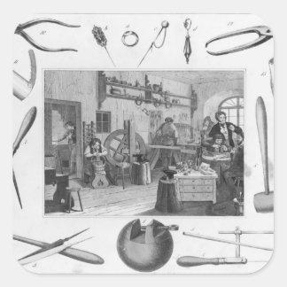 Seminarium och huvudsakligt verktyg av smycken, fyrkantigt klistermärke