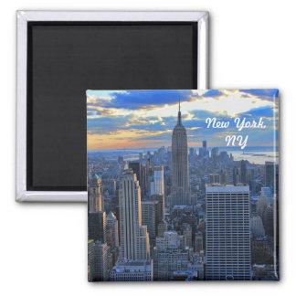 Sen horisont för eftermiddagen NYC som solnedgång Magnet