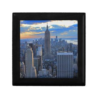 Sen horisont för eftermiddagen NYC som solnedgång Minnesask